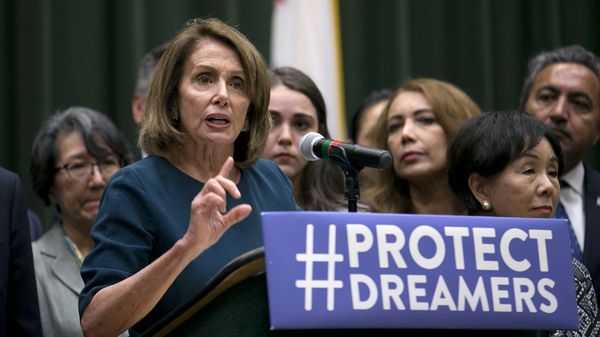 Rep. Nancy Pelosi, the top Democrat in the U.S. House, discusses immigration overhaul before a group of students, faculty and others at California State University, Sacramento on Monday. Earlier she was shouted down by young immigrants at an event in San Francisco where she was trying to drum up support for legislation that would grant legal status to young immigrants.