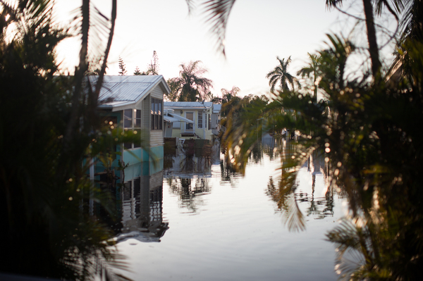 Flooding in the America Outdoors Residencies in Fort Myers, Fla., remained three days after Hurricane Irma hit. Removing flood-damaged materials is important after a storm.