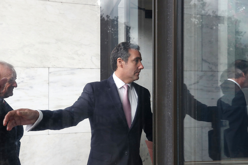 Michael Cohen, President Trump's personal lawyer, arrives at the Hart Senate Office Building to be interviewed by the Senate Intelligence Committee on Tuesday. (Mark Wilson/Getty Images)