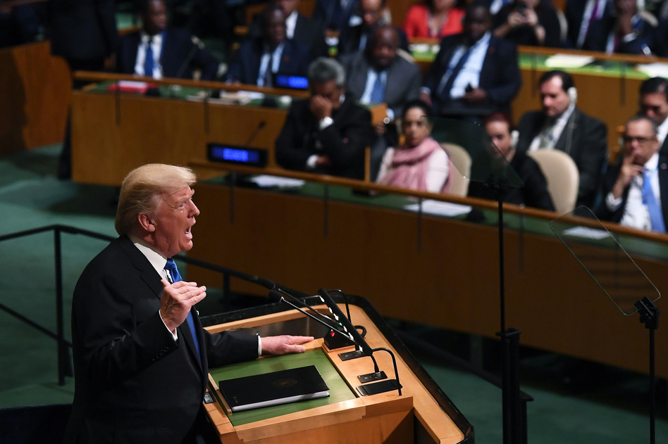 President Trump applauded the U.N. Security Council for its recent votes to impose tough economic sanctions on North Korea, during an address to the U.N. General Assembly on Tuesday. (Jewel Samad/AFP/Getty Images)