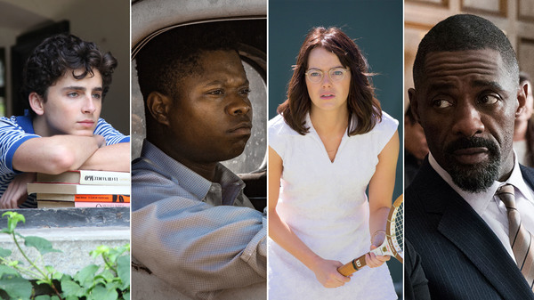 Left to right: Timothée Chalamet in Call Me by Your Name; Jason Mitchell in Mudbound; Emma Stone in Battle of the Sexes; and Idris Elba in Molly