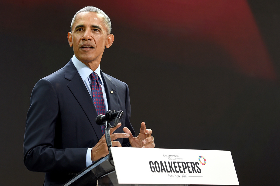 Former President Barack Obama speaks Wednesday at the Goalkeepers 2017 conference, at New York City's Jazz at Lincoln Center. (Jamie McCarthy/Getty Images)