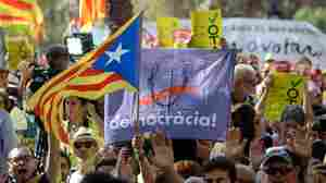 In Catalonia, Thousands Protest Spanish Attempts To Stop Referendum Vote