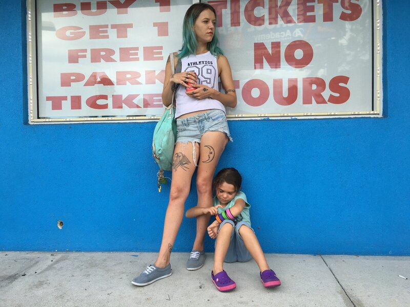 The Florida Project follows 6-year-old Moonie (Brooklynn Prince), who lives with her mom (Bria Vinaite) in the shadow of Walt Disney World. (Marc Schmidt/Courtesy of A24)
