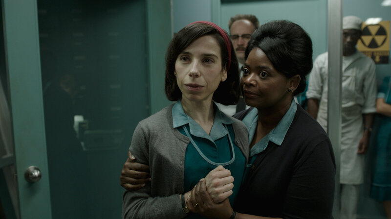 Guillermo del Toro's The Shape of Water stars Sally Hawkins and Octavia Spencer as cleaning ladies in a Cold War government lab. (Courtesy of Fox Searchlight Pictures)