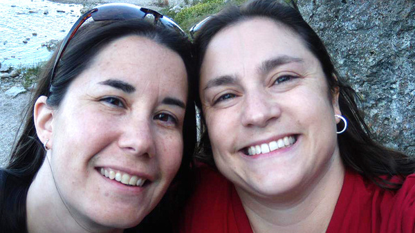 In 2016 Kristy, left, and Dana Dumont attempted to adopt a foster child but were rejected because they were a same-sex couple, according to a lawsuit filed earlier this week.