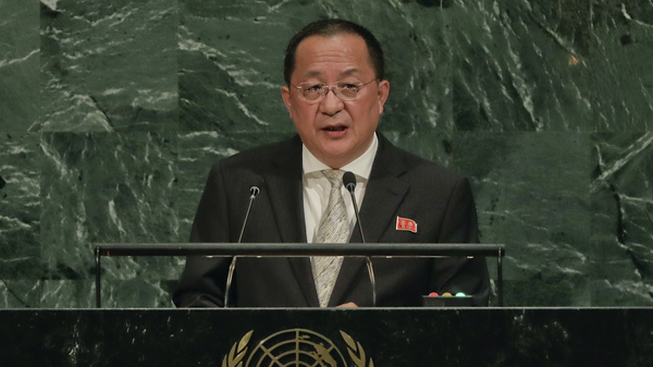 North Korea Minister for Foreign Affairs Ri Yong Ho speaks during the 72nd session of the United Nations General Assembly on Saturday.