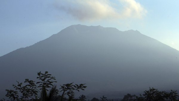 Mount Agung volcano, seen at sunrise in Bali, Indonesia, could erupt soon, say authorities.