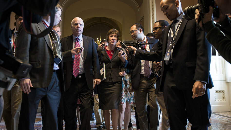 Sens. John McCain, R-Ariz., and Susan Collins, R-Maine (seen in 2013), along with Sen. Rand Paul, R-Ky., have announced firm opposition to the latest GOP health care bill. (Brendan Smialowski/AFP/Getty Images)