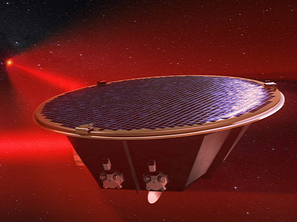 The Laser Interferometer Space Antenna, as seen in this image from an artist's simulation, will aim to detect gravitational waves in space. (C. Henze/NASA)