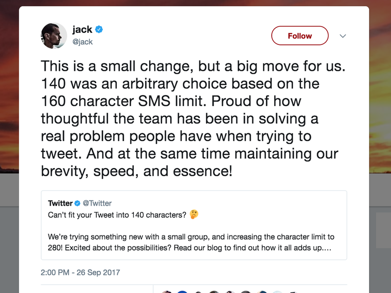 Twitter To Try Giving Users 280 Characters Whether They Want Them