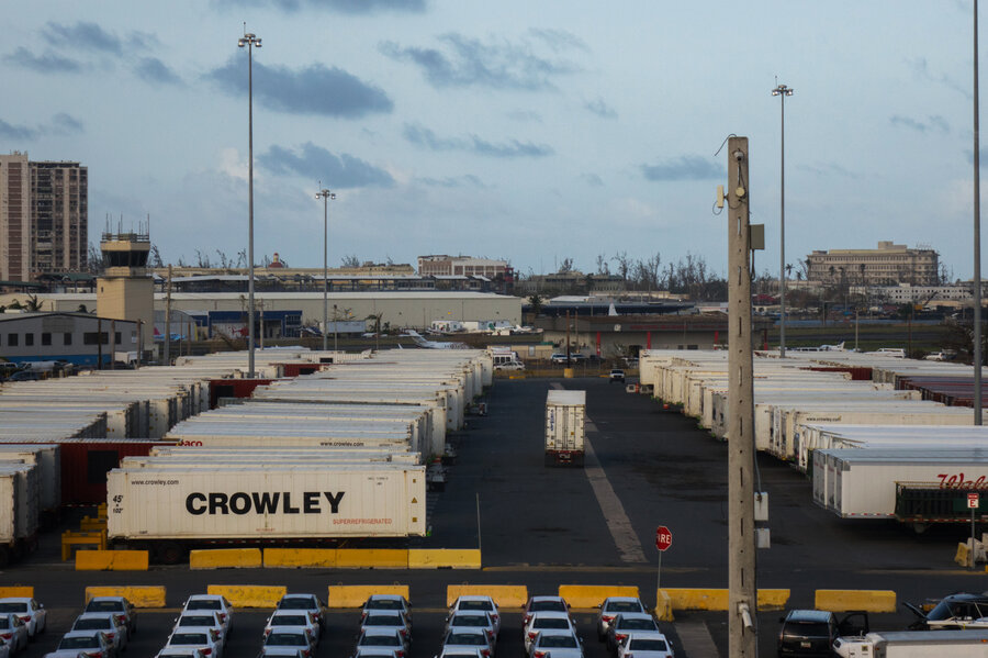 in puerto rico containers full of goods sit at ports