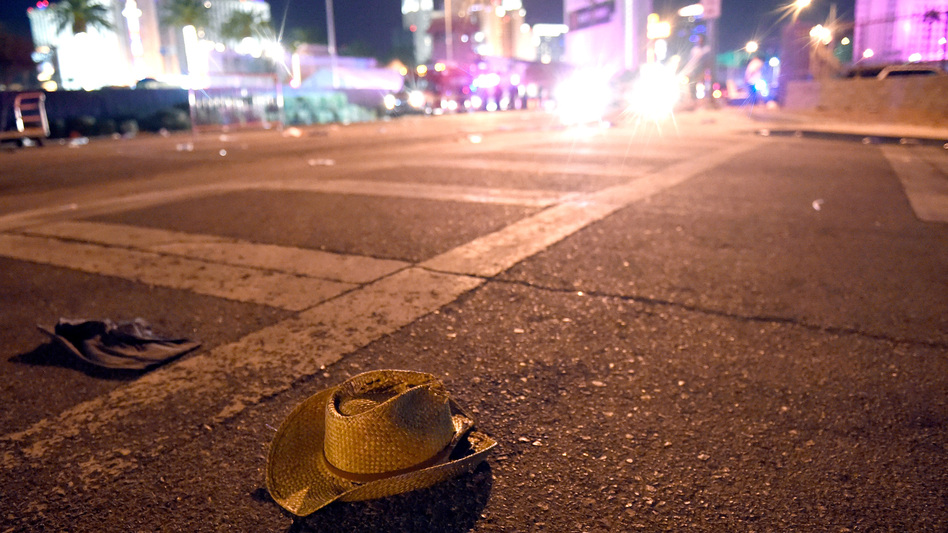 A cowboy hat lays in the street after shots were fired near a country music festival on October 1, 2017 in Las Vegas, Nevada. (David Becker/Getty Images)