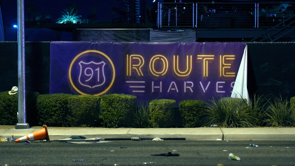A banner for the Route 91 Harvest country music festival. A shooter killed over 50 and wounded 200 during the festival's final performance in Las Vegas. (David Becker/Getty Images)