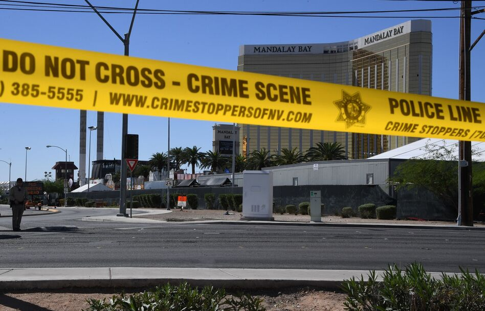 """After a gunman fired from windows in the Mandalay Bay Resort and Casino at the Route 91 Harvest music festival in Las Vegas, guitarist Caleb Keeter, who was on stage Sunday, is calling for gun control — """"RIGHT. NOW."""" (Mark Ralston/AFP/Getty Images)"""