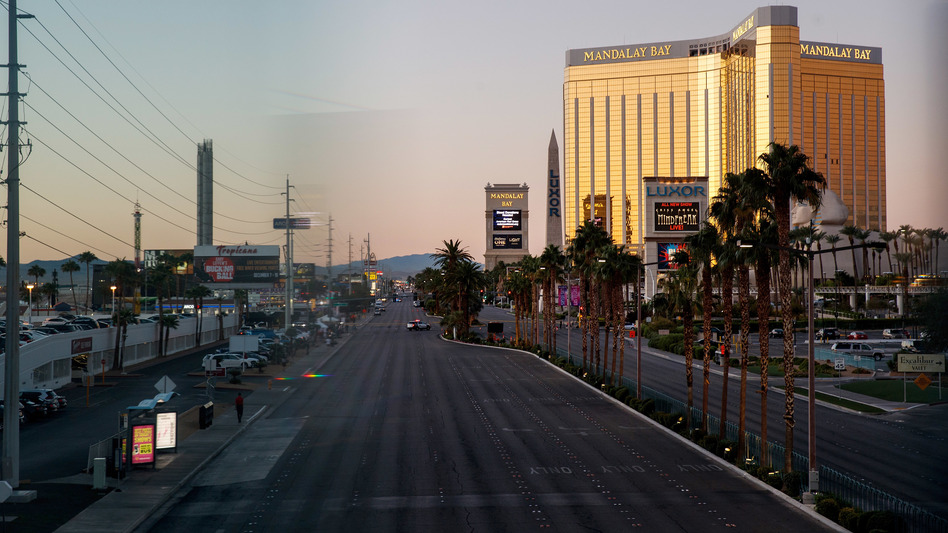 Las Vegas Boulevard remained closed to traffic early Tuesday, near the scene of Sunday night's mass shooting in Las Vegas. (Drew Angerer/Getty Images)