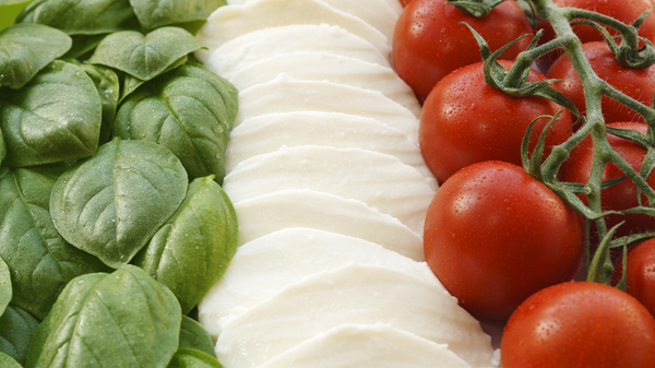 The Italian flag made up of three ingredients that help form the base of the country