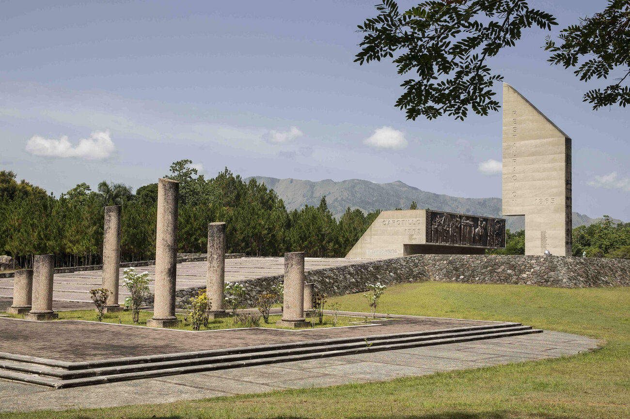 Monument to the Heroes of the Dominican Restoration War stands in Loma de Cabrera, Dominican Republic.