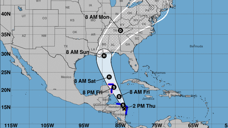 The 5-day track for Tropical Storm Nate calls for the storm to become a hurricane over the weekend — and threaten the northern Gulf Coast on Sunday. (National Hurricane Center)