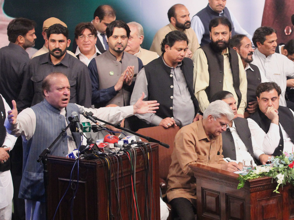 Ousted Pakistani Prime Minister Nawaz Sharif addresses his party workers' convention Oct. 4 in Lahore. (Pacific Press/LightRocket via Getty Images)