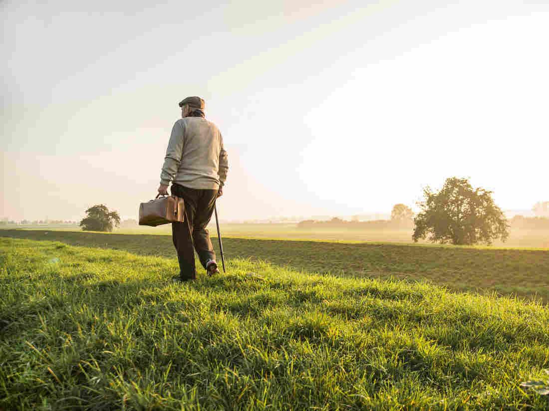 An elderly man walks off into the sunset.