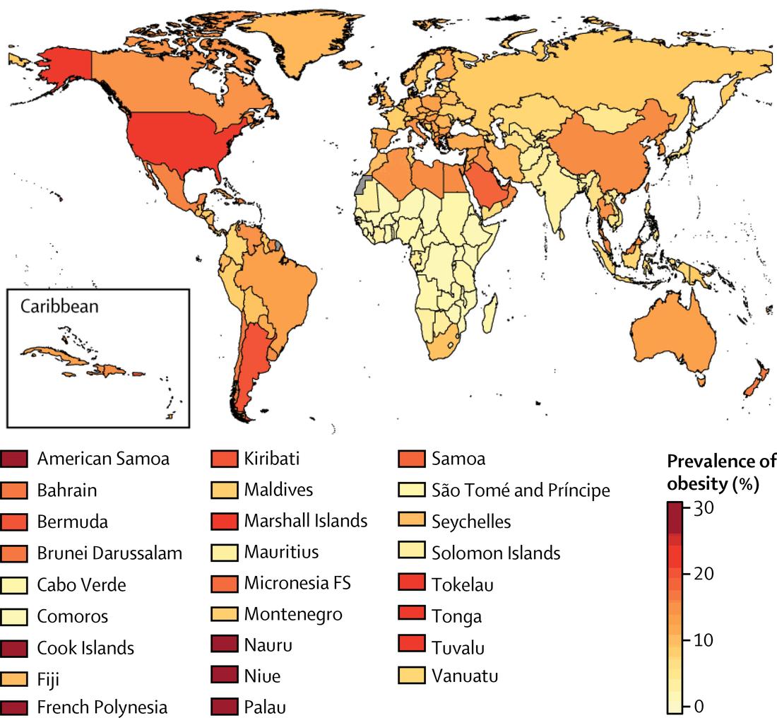World map: Obesity prevalence in boys