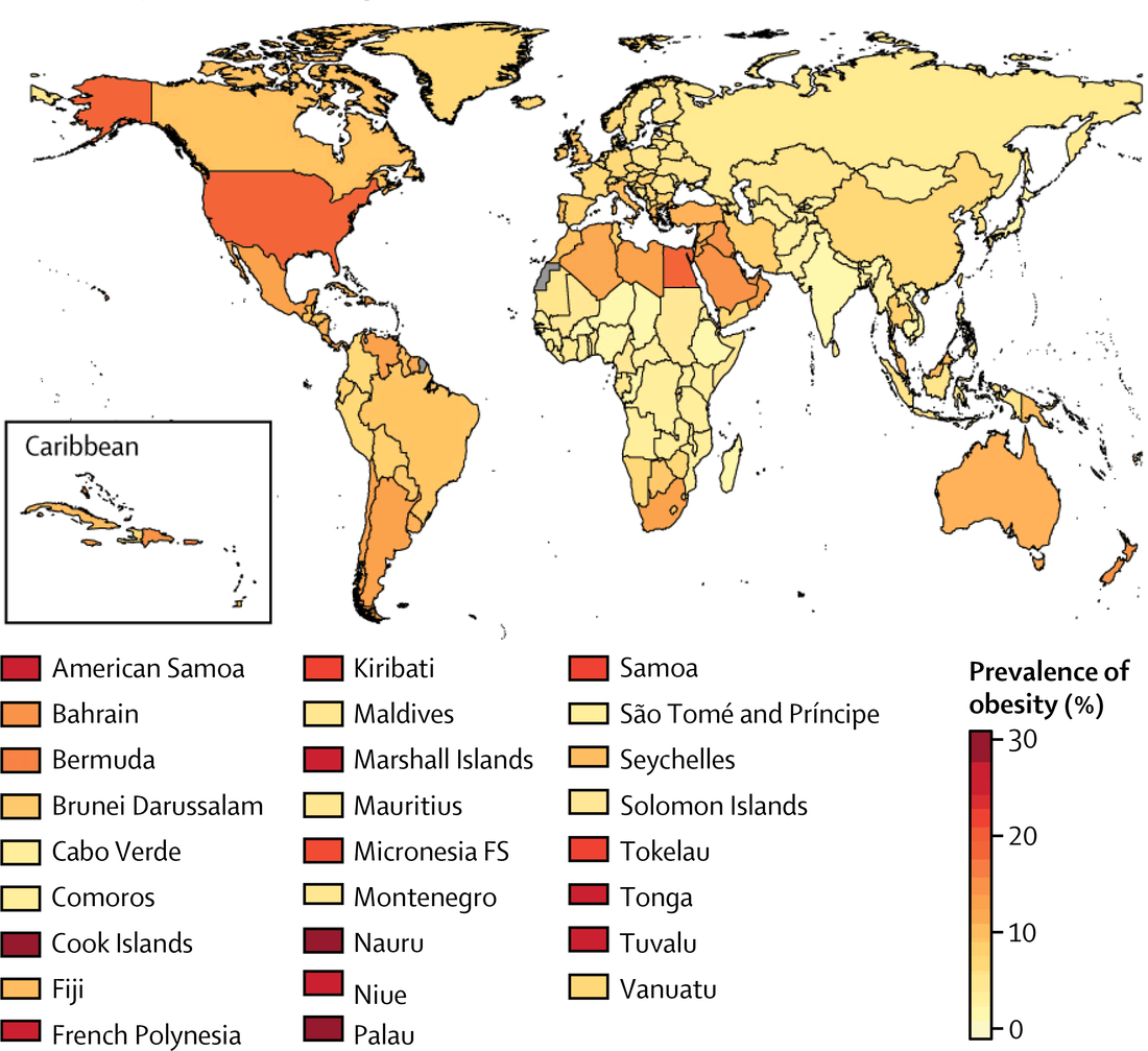 World map: Obesity prevalence in girls