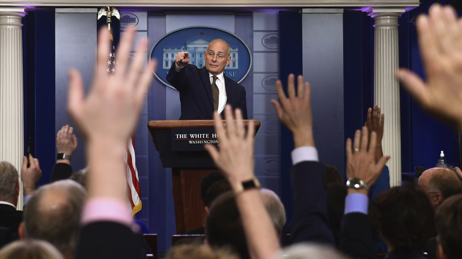 White House chief of staff John Kelly calls on a reporter during the daily briefing at the White House on Thursday.