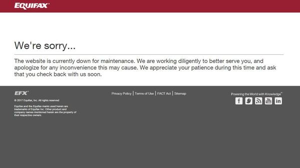 The error message displayed Thursday afternoon when visitors attempted to access the particular Equifax Web page.