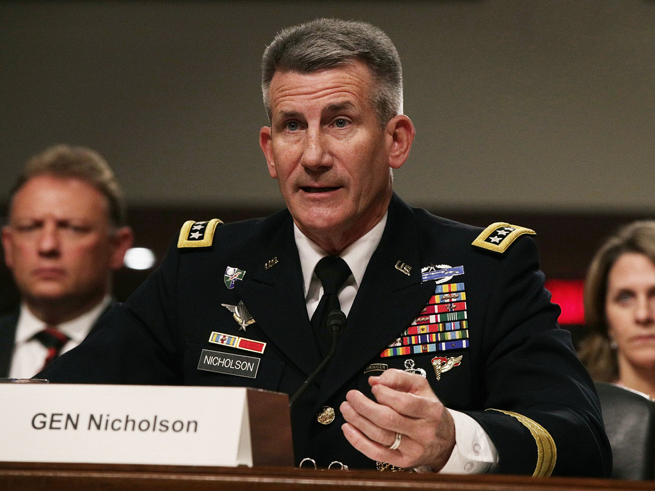 """U.S. Army Gen. John Nicholson told the Senate Armed Services Committee in February that the war in Afghanistan was at a """"stalemate."""" (Alex Wong/Getty Images)"""