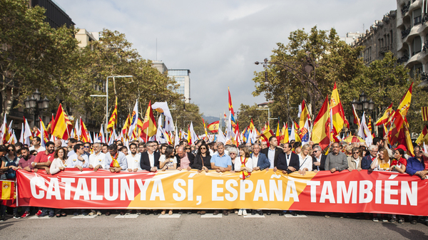 People rally in Barcelona for Spain