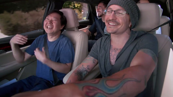 Ken Jeong (left) with Chester Bennington in Linkin Park