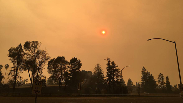 The sky over Santa Rosa, Calif., on Monday, Oct. 9.