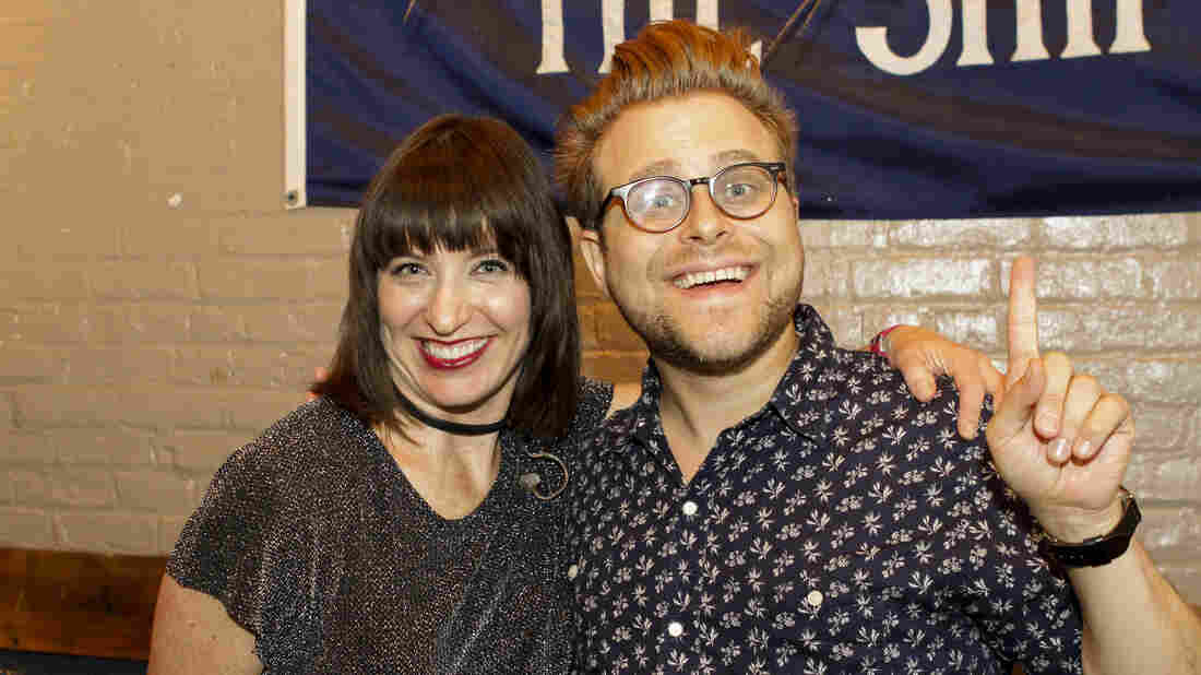 Adam Conover with host Ophira Eisenberg on Ask Me Another at The Bell House in Brooklyn, New York.