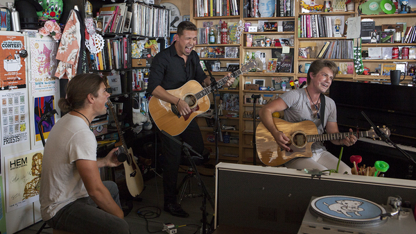 Hanson performs a Tiny Desk Concert on Sept. 25, 2017. (Jennifer Kerrigan/NPR)