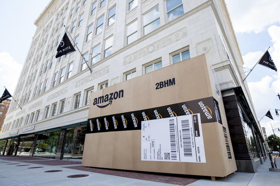 Cities across the country are trying to land Amazon's second headquarters. In Birmingham, Ala., giant Amazon boxes were constructed and placed around the city. (Ali Clark/BringAtoB Campaign)