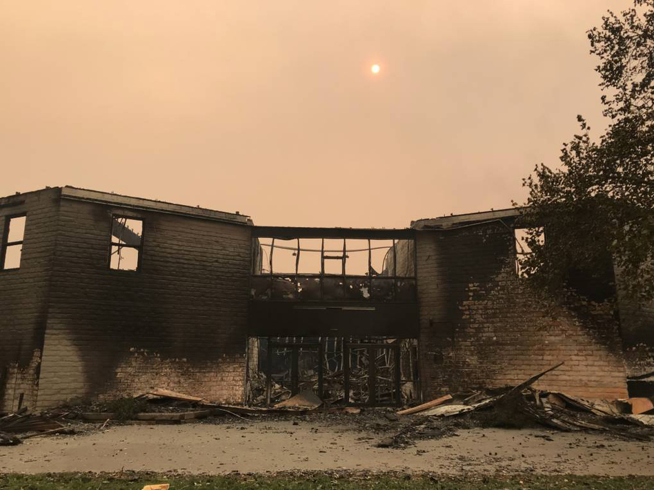 The post-fire entryway of the Anova school, which was located in Santa Rosa's Luther Burbank Center for the Arts.