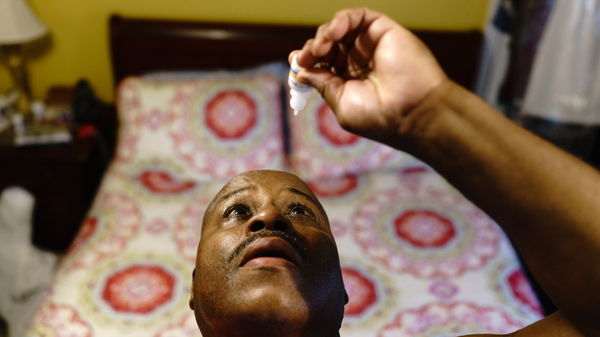 Gregory Matthews has glaucoma and uses prescription eyedrops. The dropper