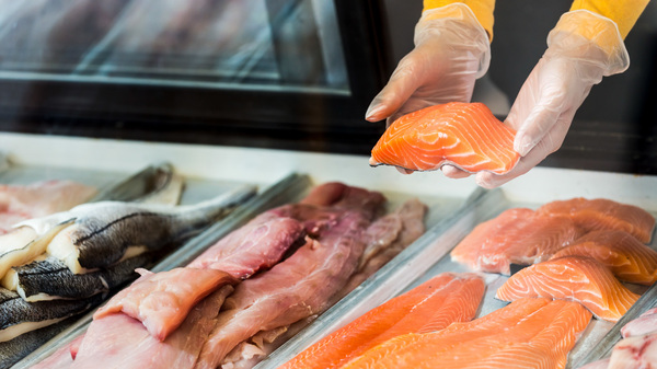 Fresh fish fillets for sale in a display case. Concerns over animal welfare have led to changes in how livestock are raised in recent years. But seafood has been missing from the conversation. One group aims to change that.