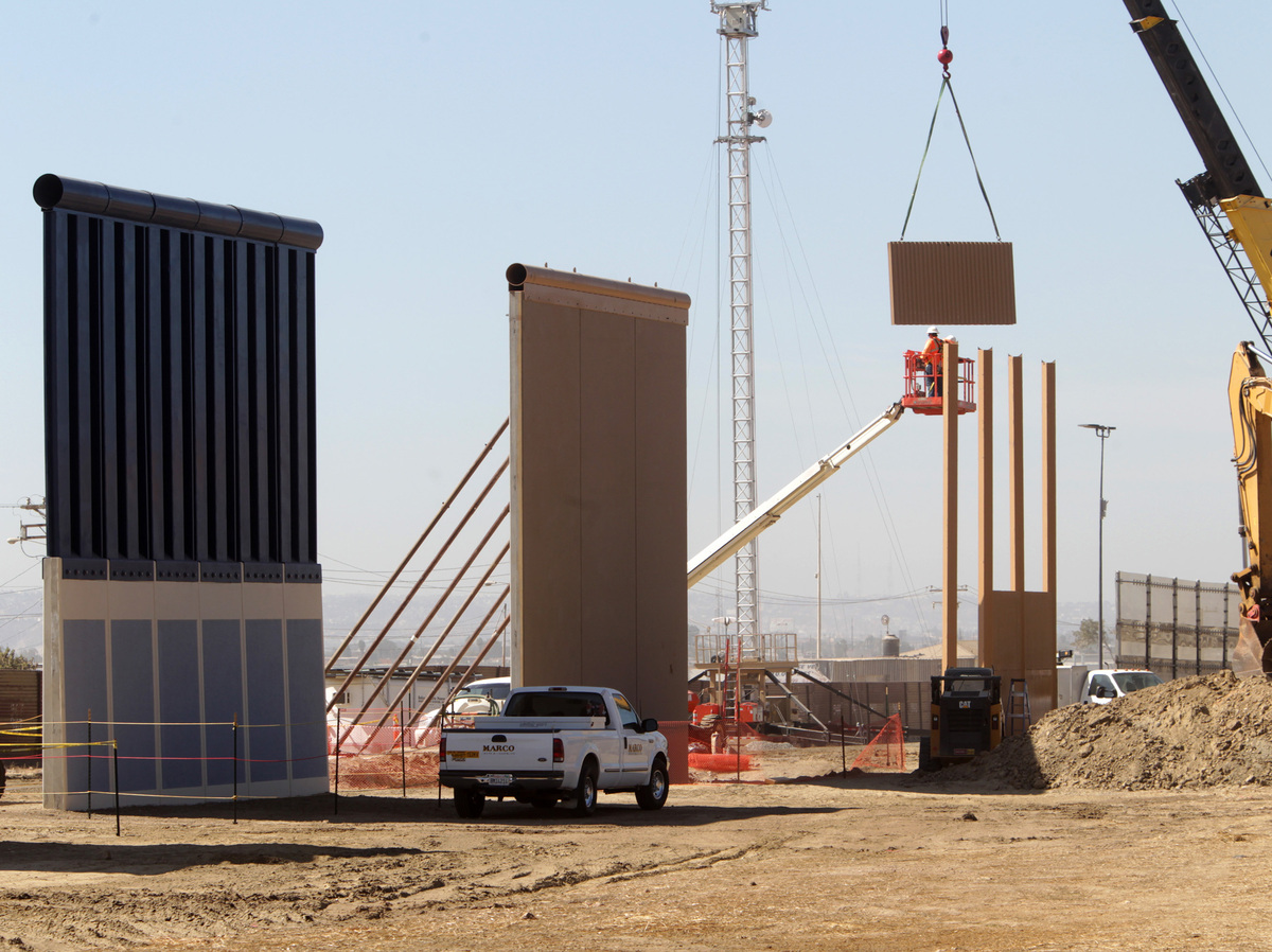 Wall Construction In Us : Foot border wall prototypes erected in san diego