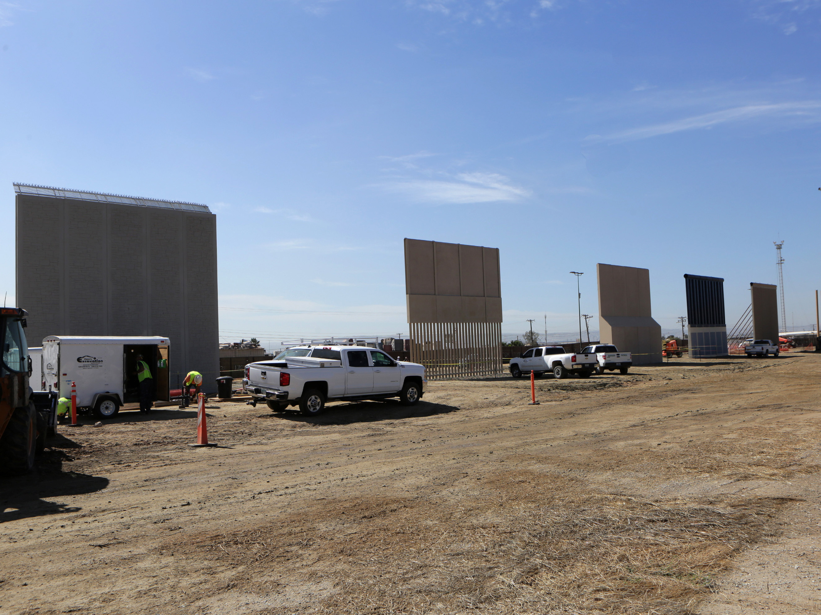 """Competitors who are hoping to gain approval to build the border wall have until the first of next month to complete their work.Crews work at the construction site of prototypes for President Trump's border wall in San Diego County.Aurelia Rodriguez and her daughter Melanie stand in a structure in Tijuana, Mexico, with a view of border wall prototypes under construction.Competitors who are hoping to gain approval to build the border wall have until the end of the month to complete their work.""""We want a better barrier. One that is hard to scale, hard to penetrate and hard to tunnel under,"""" says Roy Villareal, chief of the San Diego Border Patrol sector.Border wall prototypes are being erected on Otay Mesa in San Diego County, just north of the U.S.-Mexico border.Competitors who are hoping to gain approval to build the border wall have until the first of next month to complete their work.Crews work at the construction site of prototypes for President Trump's border wall in San Diego County.Aurelia Rodriguez and her daughter Melanie stand in a structure in Tijuana, Mexico, with a view of border wall prototypes under construction.Competitors who are hoping to gain approval to build the border wall have until the end of the month to complete their work.""""We want a better barrier. One that is hard to scale, hard to penetrate and hard to tunnel under,"""" says Roy Villareal, chief of the San Diego Border Patrol sector.Border wall prototypes are being erected on Otay Mesa in San Diego County, just north of the U.S.-Mexico border.Competitors who are hoping to gain approval to build the border wall have until the first of next month to complete their work.Crews work at the construction site of prototypes for President Trump's border wall in San Diego County.Aurelia Rodriguez and her daughter Melanie stand in a structure in Tijuana, Mexico, with a view of border wall prototypes under construction.Competitors who are hoping to gain approval to build the border wall have until the en"""