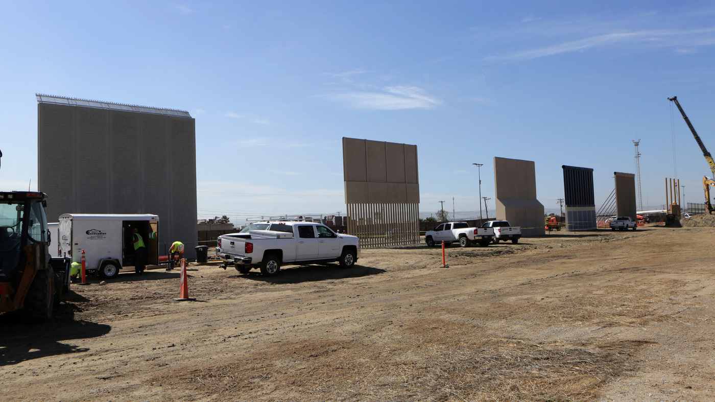 30-Foot Border Wall Prototypes Erected In San Diego Borderlands : NPR