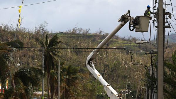 A worker repairs power lines in San Isidro, Puerto Rico.