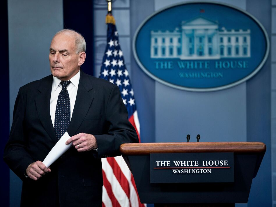 White House chief of staff John Kelly pauses while speaking about President Trump's calls to fallen service members' family members during a briefing at the White House on Thursday. (Brendan Smialowski/AFP/Getty Images)