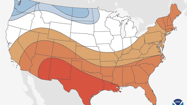 NOAA is predicting warmer-than-average temperatures in December though February for about two thirds of the contiguous United States.