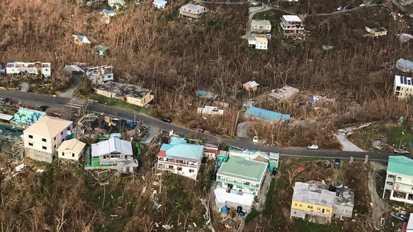Storm damage in the aftermath of Hurricane Irma on Sept. 12th in Cruz Bay, St. John, U.S. Virgin Islands.