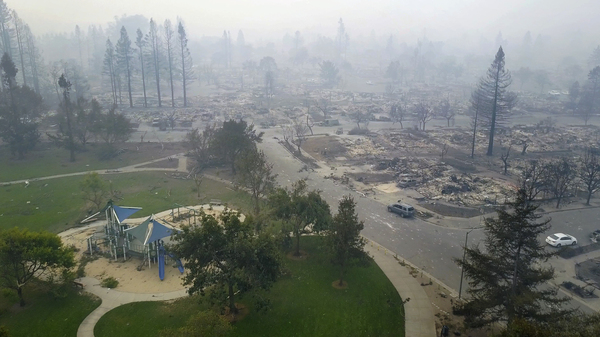 Aerial image of homes that were destroyed by a wildfire next to a playground in Santa Rosa. Tuesday, Oct. 10, 2017.