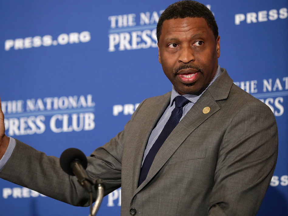 NAACP President Derrick Johnson addresses the Newsmaker Luncheon at the National Press Club August 29, 2017 in Washington, DC. (Chip Somodevilla/Getty Images)