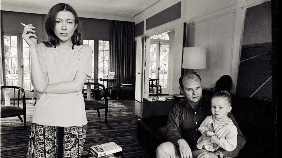 Joan Didion, John Gregory Dunne and their daughter, Quintana Roo Dunne, are the subject of the documentary <em>Joan Didion: The Center Will Not Hold</em>. (Julian Wasser/Netflix)