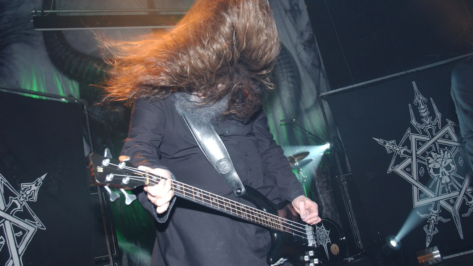 Martin Eric Ain performs with Celtic Frost in 2007.